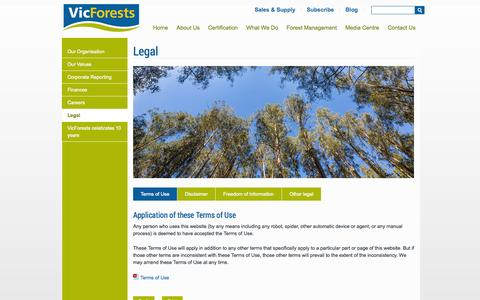 Screenshot of Terms Page vicforests.com.au - Terms of Use - captured Sept. 30, 2014