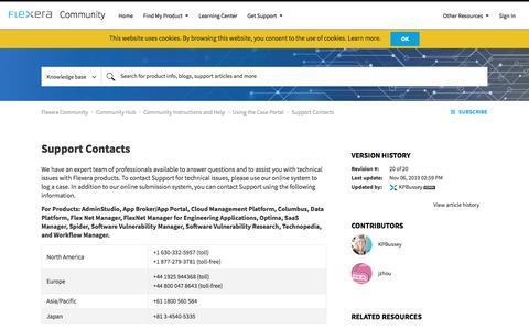 Screenshot of Case Studies Page flexera.com - Support Contacts - Community - captured Dec. 14, 2019