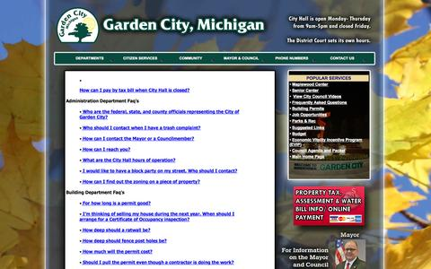 Screenshot of FAQ Page gardencitymi.org - Official web site of GARDEN CITY MICHIGAN - captured Oct. 2, 2014