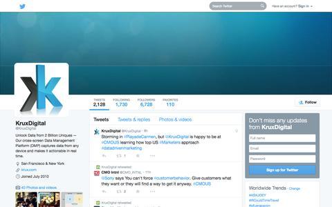 Screenshot of Twitter Page twitter.com - KruxDigital (@KruxDigital) | Twitter - captured Oct. 22, 2014