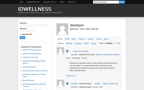 Screenshot of Developers Page idwellness.org - developer's Profile | IDWellness - captured Sept. 30, 2014