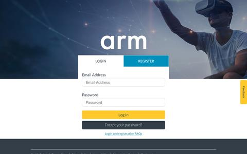 Screenshot of Login Page arm.com - Login – Arm - captured Oct. 18, 2019