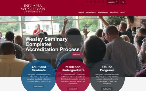 Screenshot of Home Page indwes.edu - Indiana Wesleyan University | Christian College - captured Sept. 19, 2014