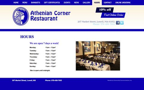 Screenshot of Hours Page atheniancorner.com - Athenian Corner | Greek Restaurant, Greek Food, Banquets, Catering, Functions | Music, Entertainment, Belly Dancing | Lowell, MA - captured June 23, 2016