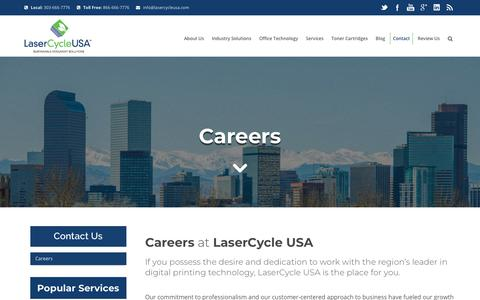 Screenshot of Jobs Page lasercycleusa.com - Careers   Job Opportunites  Louisville Colorado    LaserCycle USA - captured July 16, 2018