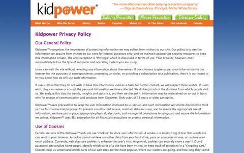 Screenshot of Privacy Page kidpower.org - Privacy Policy | Kidpower Teenpower Fullpower International - captured Nov. 3, 2014