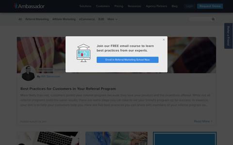 Screenshot of Blog getambassador.com - Ambassador Referral Marketing Software Blog - captured Aug. 30, 2017