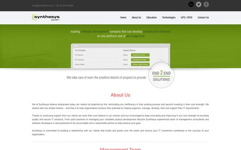 Screenshot of About Page synthesys.co.in - Synthesys Solutions Pvt. Ltd. :: Education :: Synthesys Solutions Pvt. Ltd. is         a Software development Company that can develop Customized Softwares on any platform         and of any magnitude. - captured Oct. 6, 2014