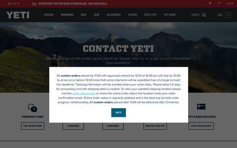 Screenshot of Contact Page yeti.com - Contact Us | YETI - captured Dec. 13, 2019