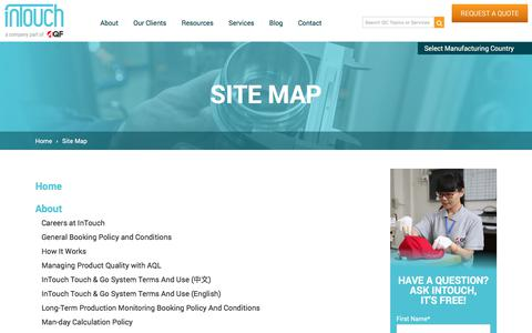 Screenshot of Site Map Page intouch-quality.com - Site map | InTouch Quality Control - captured July 23, 2019