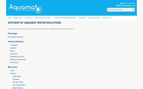 Screenshot of Site Map Page aquamat.co.za - Site map of Aquamat Water Solutions   Aquamat - captured Oct. 8, 2017