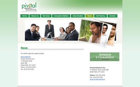 Screenshot of Press Page pivotal-solutions.net - News | Pivotal Solutions | Temporary and Permanent Staffing Solutions - captured Sept. 30, 2014