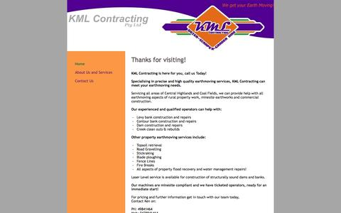 Screenshot of Home Page kmlcontractingqld.com - KML Contracting - Home - captured Oct. 8, 2014