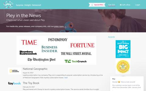 Screenshot of Press Page pley.com - In the News - Pley - Monthly Pley Club - mystery toy box with the brands you love: Disney Princess, Hot Wheels, National Geographic™ and other amazing brands - captured Dec. 24, 2017