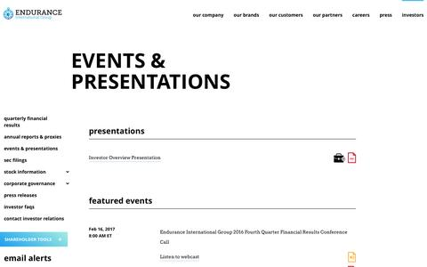 Events & Presentations - Endurance International Group