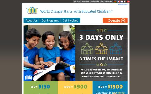 Screenshot of Home Page roomtoread.org - Room to Read - captured Dec. 2, 2015