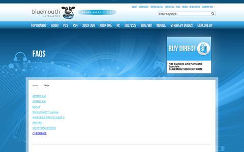 Screenshot of FAQ Page bluemouth.com - FAQs - captured Oct. 5, 2014