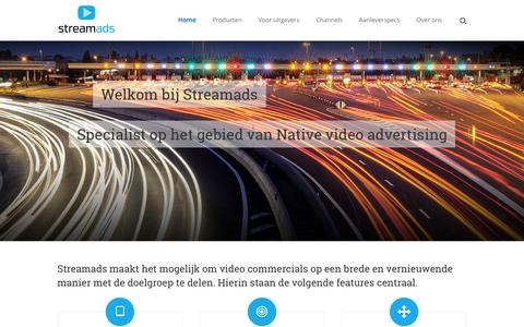 Screenshot of Home Page streamads.nl - Native video advertising | Streamads - captured Aug. 15, 2015