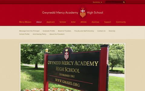 Screenshot of About Page gmahs.org - About - Gwynedd Mercy Academy High School - captured Nov. 17, 2016