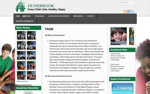 Screenshot of FAQ Page dunebrook.org - FAQS | Dunebrook - captured Feb. 9, 2016