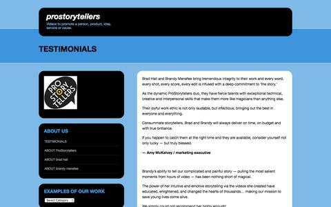 Screenshot of Testimonials Page wordpress.com - TESTIMONIALS | ProStorytellers - captured July 17, 2016