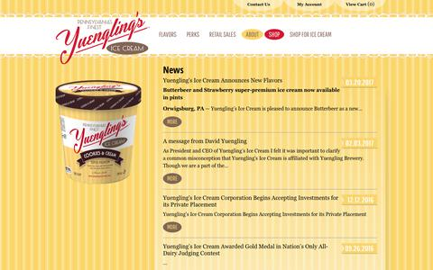 Screenshot of Press Page yuenglingsicecream.com - News | Yuengling's Ice Cream - captured Oct. 20, 2018