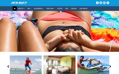 Screenshot of Home Page prosurfschool.com - PRO SURF : Surf & Camp Bali - captured May 22, 2017