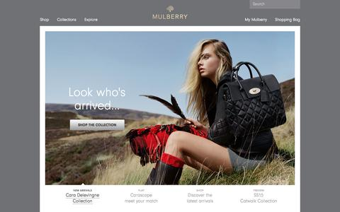 Screenshot of Home Page mulberry.com - Mulberry | Official Site - captured Sept. 18, 2014