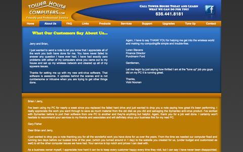 Screenshot of Testimonials Page towerhousecomputers.com - Testimonials - captured Oct. 7, 2014