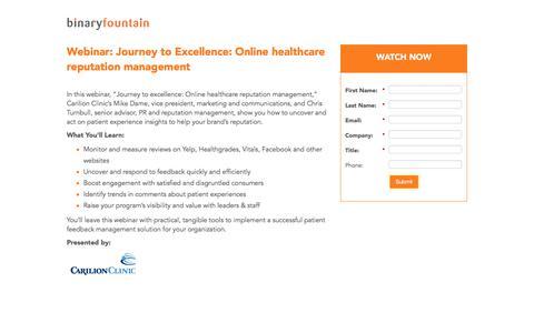 Screenshot of Landing Page binaryfountain.com - Healthcare Reputation Management Platform - Binary Fountain - captured June 18, 2017