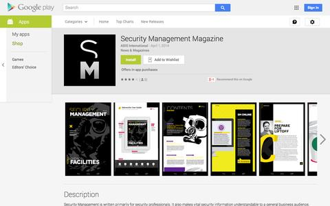 Screenshot of Android App Page google.com - Security Management Magazine - Android Apps on Google Play - captured Nov. 3, 2014
