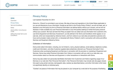 Screenshot of Privacy Page ooma.com - Privacy Policy - Ooma.com - Smart solutions for home and business. - captured Nov. 3, 2018