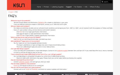 Screenshot of FAQ Page ksun.com - FAQ's - - captured Oct. 14, 2018