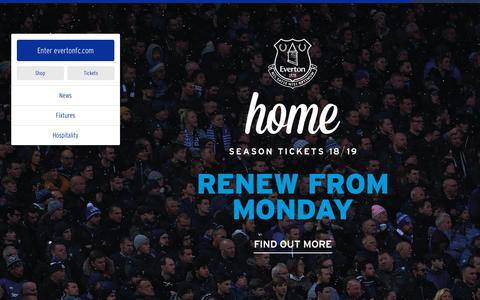 Screenshot of Home Page evertonfc.com - Home | Everton Football Club - captured Jan. 12, 2018