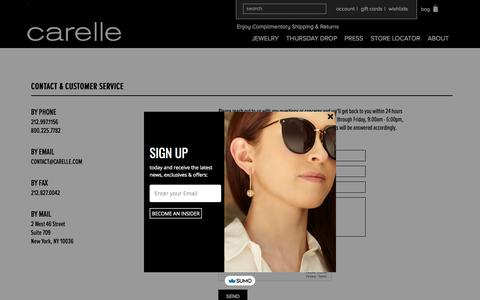 Screenshot of Support Page carelle.com - Customer Service - captured July 16, 2018