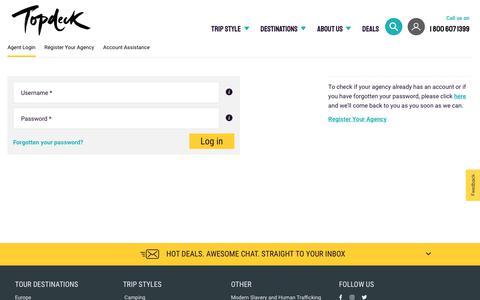 Screenshot of Login Page topdeck.travel - Agent Login | Topdeck Travel - captured Jan. 18, 2020