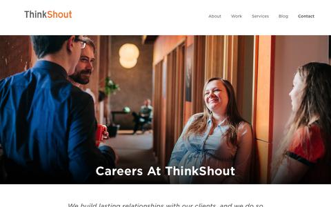 Screenshot of Jobs Page thinkshout.com - Careers | ThinkShout - captured March 13, 2019