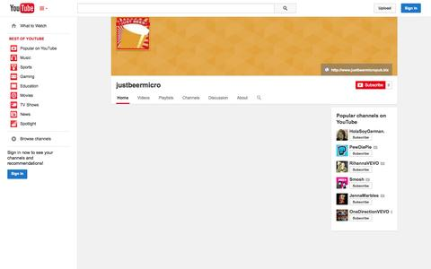 Screenshot of YouTube Page youtube.com - justbeermicro  - YouTube - captured Oct. 23, 2014