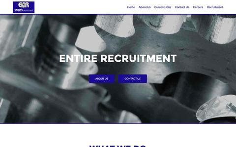 Screenshot of Home Page entirerecruitment.com - Entire Recruitment - ENTIRE has a range of capabilities to help you recruit, manage and retain talent - captured July 10, 2016