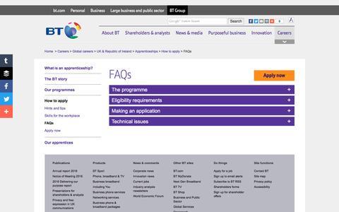 Screenshot of FAQ Page btplc.com - FAQs - captured June 26, 2016