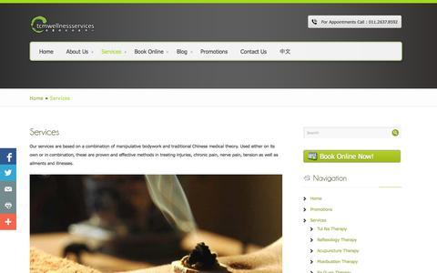 Screenshot of Services Page tcmwellness.my - Services | TCM Wellness Services - captured Oct. 26, 2014