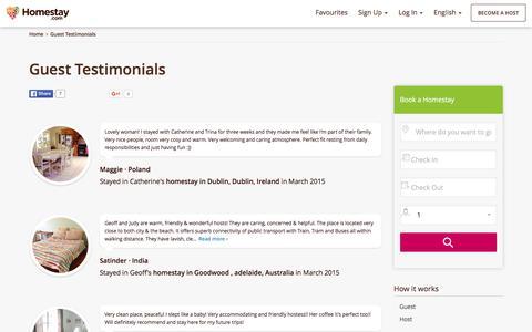 Screenshot of Testimonials Page homestay.com - Guest Testimonials - captured Jan. 14, 2016