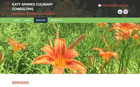 Screenshot of Services Page katysparks.com - Menu and Recipe Development Services - captured Oct. 15, 2018