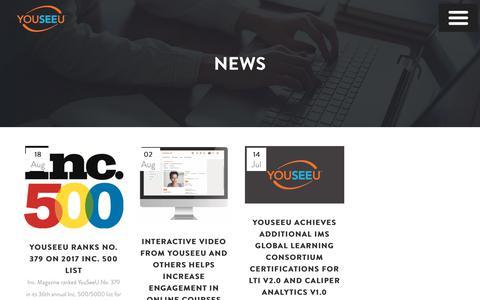 Screenshot of Press Page youseeu.com - YouSeeU | News - captured Nov. 11, 2017