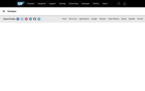 Screenshot of Developers Page sap.com - SAP Developer Center | Official Resources for SAP Developers - captured Sept. 27, 2018