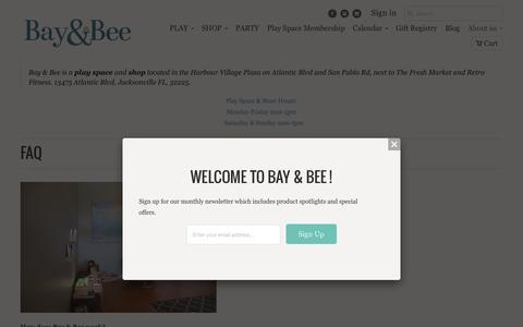 Screenshot of FAQ Page baynbee.com - FAQ - Bay & Bee - captured Feb. 7, 2016