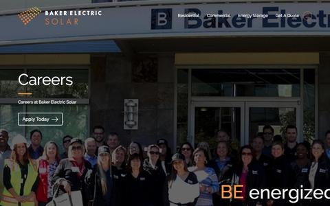 Screenshot of Jobs Page bakerelectricsolar.com - Solar and Energy Storage Job Openings - captured July 19, 2017