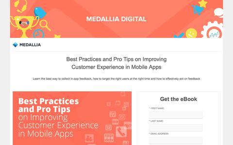 Screenshot of Landing Page medallia.com - Medallia - Best Practices for In-App CX - captured July 4, 2017