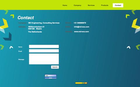 Screenshot of Contact Page md-ecs.com - MD Engineering Consulting Services - contact us - captured Oct. 4, 2014