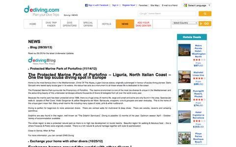 Screenshot of Press Page ediving.com - Latest News and Updates about Scuba Diving World - captured Oct. 3, 2014